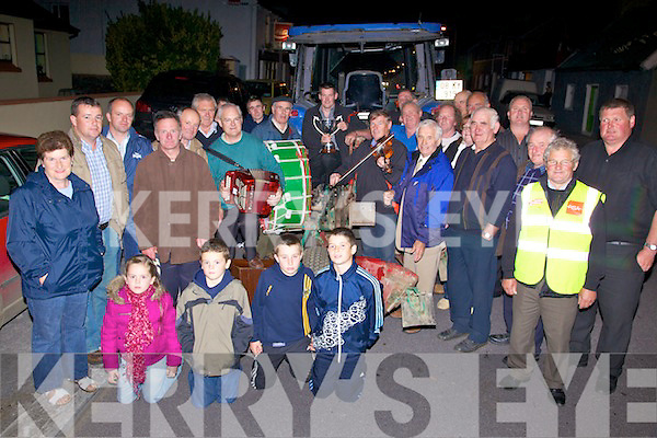 Well Done - A crowd gathered in Ballyheigue an Friday night to welcome home Derek O'Driscoll from Castleshannon, Ballyheigue following his first place in the U28 category at the National Ploughing Championships in Athy last week..