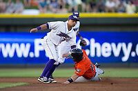 Ronald Bueno (7) of the Winston-Salem Dash applies the tag to Anthony Hermelyn 16 of the Buies Creek Astros as he tries to steal second base at BB&T Ballpark on April 13, 2017 in Winston-Salem, North Carolina.  The Dash defeated the Astros 7-1.  (Brian Westerholt/Four Seam Images)