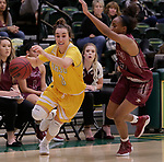 SPEARFISH, SD: NOVEMBER 11:  Julia Seamans #3 of Black Hills State drives on Passionate Amukamara #5 of Texas A&M Kingsville during their game Saturday at the Donald E. Young Center in Spearfish, S.D.    (Photo by Dick Carlson/Inertia)