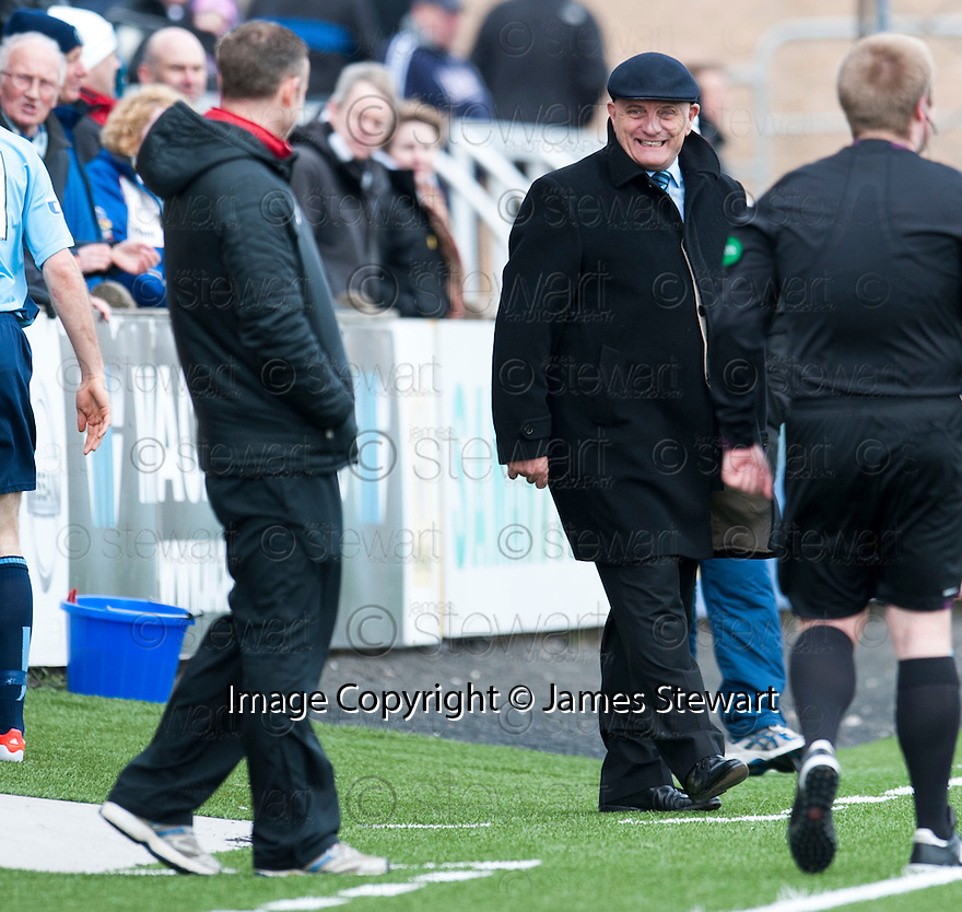Forfar manager Dick Campbell shares a joke with Ayr Utd Manager Mark Roberts.
