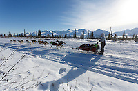 Nicole Forto and team run down the trail on the Denali Highway with the Alaska Range in the background during the start day of the 2015 Junior Iditarod on Sunday March 1, 2015<br /> <br /> <br /> <br /> (C) Jeff Schultz/SchultzPhoto.com - ALL RIGHTS RESERVED<br />  DUPLICATION  PROHIBITED  WITHOUT  PERMISSION