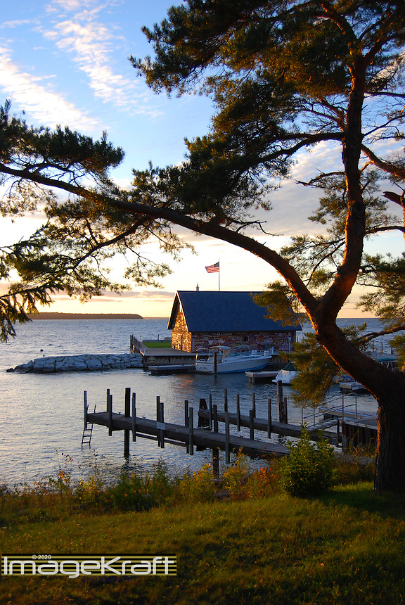 Anderson Dock, Ephraim Harbor, Door County, Wisconsin, naturally framed by pine tree