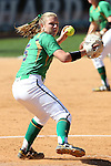 24 April 2016: Notre Dame's Allie Rhodes makes a throw to first base. The University of North Carolina Tar Heels hosted the University of Notre Dame Fighting Irish at Anderson Stadium in Chapel Hill, North Carolina in a 2016 NCAA Division I softball game. UNC won game 1 of the doubleheader 7-4.
