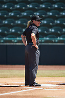 Umpire Jennifer Pawol prior to the South Atlantic League game between the Lakewood BlueClaws and the Hickory Crawdads at L.P. Frans Stadium on April 28, 2019 in Hickory, North Carolina. The Crawdads defeated the BlueClaws 10-3. (Brian Westerholt/Four Seam Images)