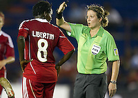 Referee Caron Anne. The US Women's National Team defeated Haiti 5-0 during the CONCACAF Women's World Cup Qualifying tournament at Estadio Quintana Roo in Cancun, Mexico on October 28th, 2010.
