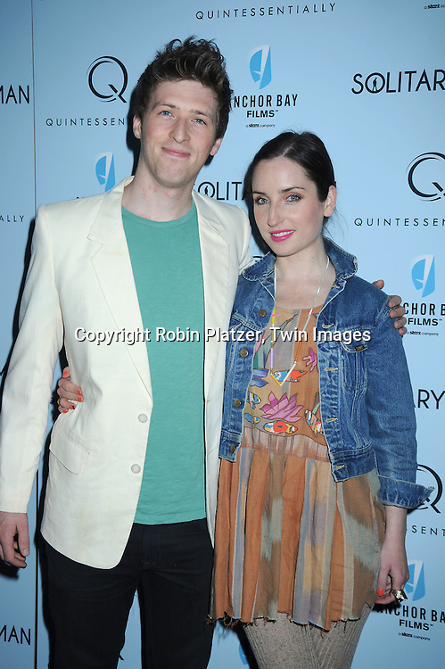 """Daryl Wein and girlfriend actress Zoe Lister-Jones attending  The New York Premiere of """"Solitary Man"""" starring Michael Douglas, Jenna Fischer, Imogen Poots at Cinema 2 on May 11, 2010 in New York City."""