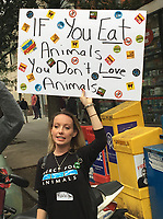 NEW YORK, NY - SEPTEMBER 2: Animal rights protesters march in the East Village in New York, New York on September 2 , 2017.  Photo Credit: Rainmaker Photo/MediaPunch