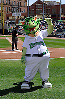 Dayton Dragons mascot on the field prior to a game against the Bowling Green Hot Rods on April 21, 2013 at Fifth Third Field in Dayton, Ohio.  Bowling Green defeated Dayton 7-5.  (Mike Janes/Four Seam Images)