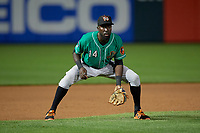 Norfolk Tides third baseman Anderson Feliz (14) during an International League game against the Buffalo Bisons on June 21, 2019 at Sahlen Field in Buffalo, New York.  Buffalo defeated Norfolk 1-0, the second game of a doubleheader.  (Mike Janes/Four Seam Images)