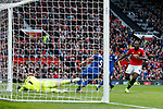 Romelu Lukaku of Manchester United scores the third goal past Jordan Pickford of Everton during the premier league match at the Old Trafford Stadium, Manchester. Picture date 17th September 2017. Picture credit should read: Simon Bellis/Sportimage