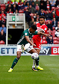 30th September 2017, Riverside Stadium, Middlesbrough, England; EFL Championship football, Middlesbrough versus Brentford; Ollie Watkins of Brentford holds off a challenge from Marvin Johnson of  Middlesbrough