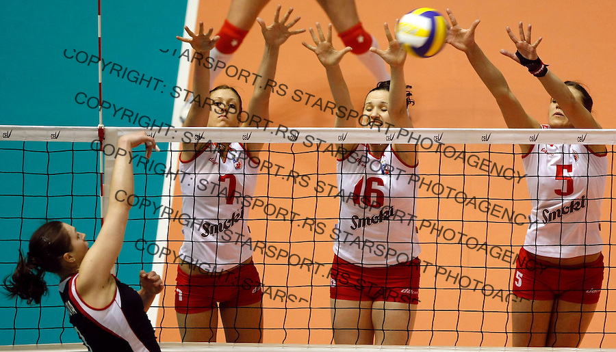 Odbojka, Kup CEV, final four.Crvena Zvezda Vs. Samorodok (Russia).Bojana Zivkovic, Jelena Dragovic and Natasa Sevarika.Beograd, 16.03.2008..foto: Srdjan Stevanovic