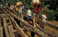 Transamazonica road, Amazon rain forest, Para State, Brazil. Bridge destroyed and burned by truck drivers. Lack of infrastructure. No road to transport the settlers production. The Trans Amazonian highway.