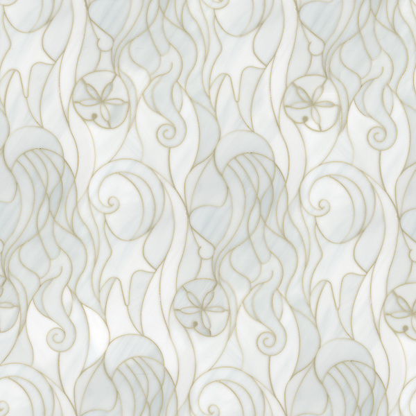 Octopus's Garden, a waterjet jewel glass mosaic, is shown in Moonstone.