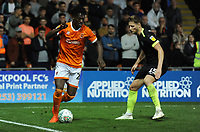 Blackpool's Armand Gnanduillet under pressure from Macclesfield Town's Fraser Horsfall<br /> <br /> Photographer Kevin Barnes/CameraSport<br /> <br /> The Carabao Cup First Round - Blackpool v Macclesfield Town - Tuesday 13th August 2019 - Bloomfield Road - Blackpool<br />  <br /> World Copyright © 2019 CameraSport. All rights reserved. 43 Linden Ave. Countesthorpe. Leicester. England. LE8 5PG - Tel: +44 (0) 116 277 4147 - admin@camerasport.com - www.camerasport.com