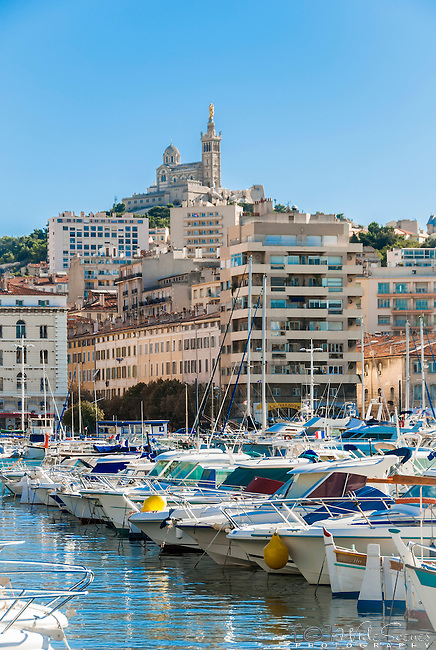 View across the Vieux-Port, the Old Port, Marseille, France