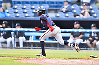 Rome Braves second baseman Kevin Josephina (24) runs to first base during a game against the Asheville Tourists at McCormick Field on May 22, 2017 in Asheville, North Carolina. The Braves defeated the Tourists 7-3. (Tony Farlow/Four Seam Images)