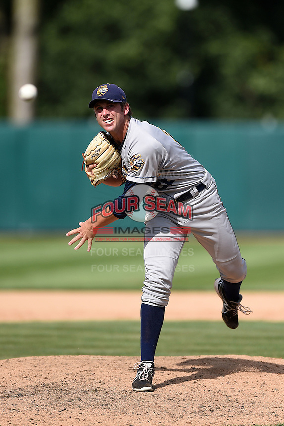 Burlington Bees pitcher Cole Swanson (26) delivers a pitch during a game against the Kane County Cougars on August 20, 2014 at Third Bank Ballpark in Geneva, Illinois.  Kane County defeated Burlington 7-3.  (Mike Janes/Four Seam Images)