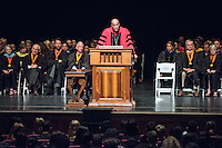 President Jonathan Veitch. Incoming first years listen as Occidental College faculty, leadership and the Glee Club welcome them during Convocation, Aug. 26, 2015 in Thorne Hall. The annual tradition starts the new school year. This year, the theme will be sustainability, which the guest speakers talked about.<br /> (Photo by Marc Campos, Occidental College Photographer)