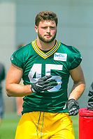 Green Bay Packers linebacker Vince Biegel (45) during a training camp practice on August 15, 2017 at Ray Nitschke Field in Green Bay, Wisconsin.   (Brad Krause/Krause Sports Photography)