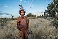 Africa, Botswana, Khwai, The Lodge, Feline Fields, edge of the Kalahari desert. Kalahari bush people, Ju'hoansi tribe. Hunter-gatherer !Kung people, part of San tribe. Performing an evening trance dance where the shaman performs healing rituals.