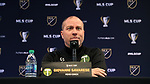 MARIETTA, GA - DECEMBER 06: Portland Timbers head coach Giovanni Savarese. The MLS Cup 2018 Team Press Conferences were held on December 6, 2018 at the Children's Healthcare of Atlanta Training Ground in Marietta, GA.