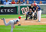 4 July 2009: Washington Nationals' second baseman Anderson Hernandez in action against the Atlanta Braves at Nationals Park in Washington, DC. The Nationals rallied with 4 runs in the 8th to defeat the Braves 5-3 and take the second game of the 3-game weekend series. Mandatory Credit: Ed Wolfstein Photo