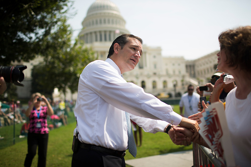 "Sen. Ted Cruz (TX) attends an  ""Exempt America from Obamacare"" Tea Party rally on Capitol Hill in Washington."