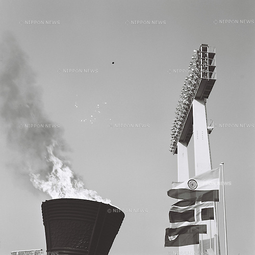 Olympic Flame,<br /> OCTOBER 10, 1964 - Opening Ceremony : Olympic Flame burns during the 1964 Tokyo Olympic Games Opening Ceremony at National Stadium in Tokyo, Japan.<br /> (Photo by Shinichi Yamada/AFLO) [0348]