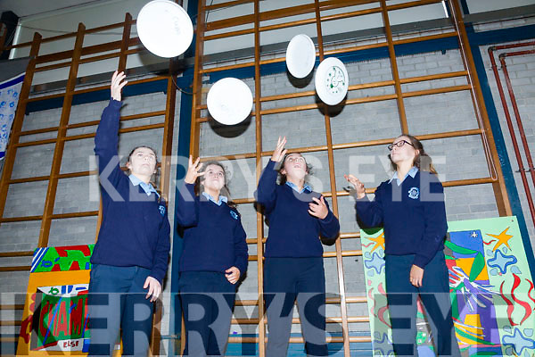 Presentation Secondary School, Castleisland had Ultimate Frisbee in school hall on Friday as part of Wellness Week Pictured Clodagh Swanson, Alex Sheehan, Katie O'Connor, Kaitlyn Toomey