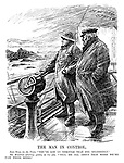 "The Man in Control. John Bull (to the pilot). ""You've got us through that fog splendidly."" Mr Baldwin (sticking quietly to his job). ""Tell me all about that when we're past these rocks."" (cartoon showing Stanley Baldwin as a ship captain navigating the stormy seas of a General Strike and the Coal Crisis rocks during the InterWar era)"