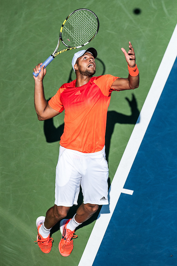 NEW YORK, NY – AUGUST 25:  Jo-Wilfried Tsonga (FRA) [9] serves in a match during the day session of the first round of the 2014 US Open.
