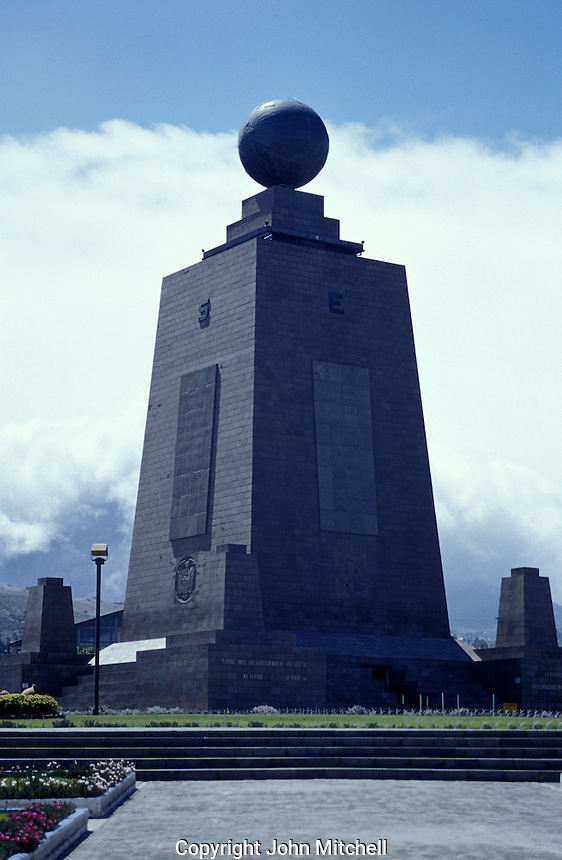 La Miitad del Mundo or Middle of the World monument in San Antonio Pichincha near Quito, Ecuador. This iron and cement monument was built between 1979 and 1982 to mark the position of the equator. It now houses  an ethnographic museum.