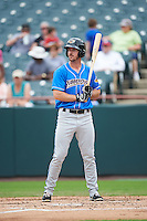Akron RubberDucks right fielder Mike Papi (38) at bat during the first game of a doubleheader against the Bowie Baysox on June 5, 2016 at Prince George's Stadium in Bowie, Maryland.  Bowie defeated Akron 6-0.  (Mike Janes/Four Seam Images)