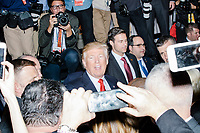 President-elect Donald Trump greets the crowd after speakingin the ballroom in the Midtown Hilton at the election night victory rally for Republican presidential nominee Donald Trump, after the presidential race was called for Trump in the early hours of Nov. 9, 2016.