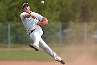 25 April 2010: Bertrand Dubaut of the PUC throws the ball to first base during game 2/week 3 of the French Elite season won 12-0 by Rouen over the PUC, at the Pershing Stadium in Vincennes, near Paris, France.