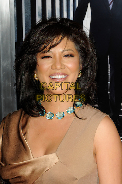"JULIE CHEN .arriving at the premiere of ""Extraordinary Measures"" at Grauman's Chinese Theatre in Hollywood, California, USA,   January 19th, 2010..arrivals portrait headshot beige gold turquoise blue choker smiling stones .CAP/ROT.©Lee Roth/Capital Pictures"