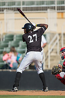 Micker Adolfo (27) of the Kannapolis Intimidators at bat against the Hagerstown Suns at Kannapolis Intimidators Stadium on June 15, 2017 in Kannapolis, North Carolina.  The Intimidators walked-off the Suns 5-4 in game one of a double-header.  (Brian Westerholt/Four Seam Images)