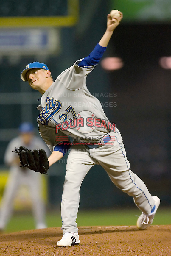 Starting pitcher Rob Rassmussen #27 of the UCLA Bruins in action versus the Rice Owls  in the 2009 Houston College Classic at Minute Maid Park February 27, 2009 in Houston, TX.  The Owls defeated the Bruins 5-4 in 10 innings. (Photo by Brian Westerholt / Four Seam Images)