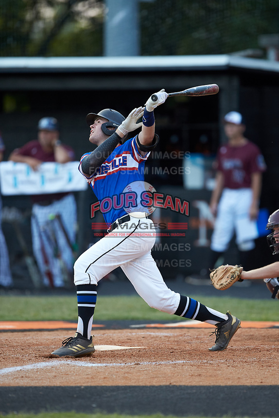 Gage Smith (13) of Mooresville Post 66 follows through on his swing against Kannapolis Post 115 during an American Legion baseball game at Northwest Cabarrus High School on May 30, 2019 in Concord, North Carolina. Mooresville Post 66 defeated Kannapolis Post 115 4-3. (Brian Westerholt/Four Seam Images)