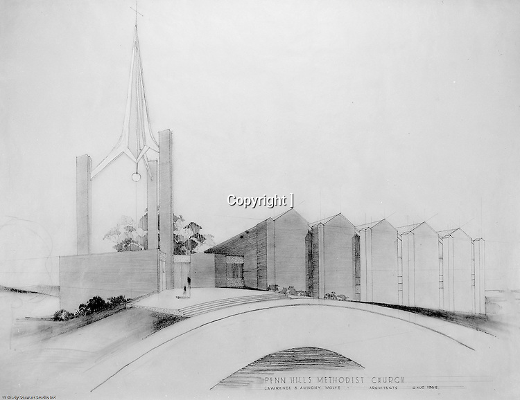 Penn Hills PA:  Studio photography of the rendering for the Penn Hills Methodist Church created by Lawrence & Anthony Wolfe architects - 1962.