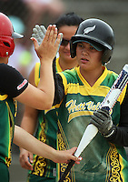 Hutt Valley's Ashley Johnson celebrates scoring the team's first run during round two of the National Women's Softball Championships at Hataitai Park, Wellington, NewZealand on Sunday 2 February 2009. Photo: Dave Lintott / lintottphoto.co.nz
