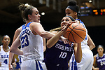 DURHAM, NC - NOVEMBER 16: High Point's Emma Bockrath (10) is fouled by Duke's Rebecca Greenwell (23). The Duke University Blue Devils hosted the High Point University Panthers on November 16, 2017 at Cameron Indoor Stadium in Durham, NC in a Division I women's college basketball game. Duke won the game 77-50.
