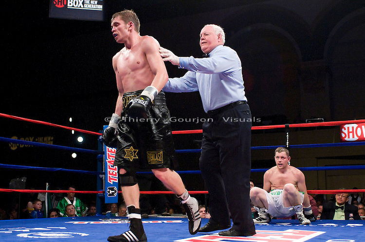 Atlantic City, N.J, 12.13.2008: Yuri Foreman in the ring during his 10 rounds  NABF Jr. Middleweight Championship fight against James Moore (white trunks)  at the Boardwalk Hall. Foreman retained his belt  by unanimous decision.