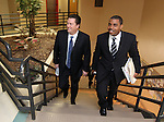 Nevada Assembly Speaker John Oceguera, D-Las Vegas, left, and Senate Majority Leader Steven Horsford, D-North Las Vegas, arrive at a meeting with state business and community leaders Thursday morning, May 5, 2011, at Western Nevada College in Carson City, Nev..Photo by Cathleen Allison