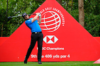 Terrell Hatton (ENG) on the 9th tee  during the 1st round at the WGC HSBC Champions 2018, Sheshan Golf Club, Shanghai, China. 25/10/2018.<br />