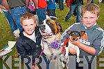 Bringing their dogs to the dog show at the Kilgarvan Agricultural Show. .L-R Sean Lucey and his dog 'Tiny' and Ian Roche with 'Stardust' both from Headford, Killarney.