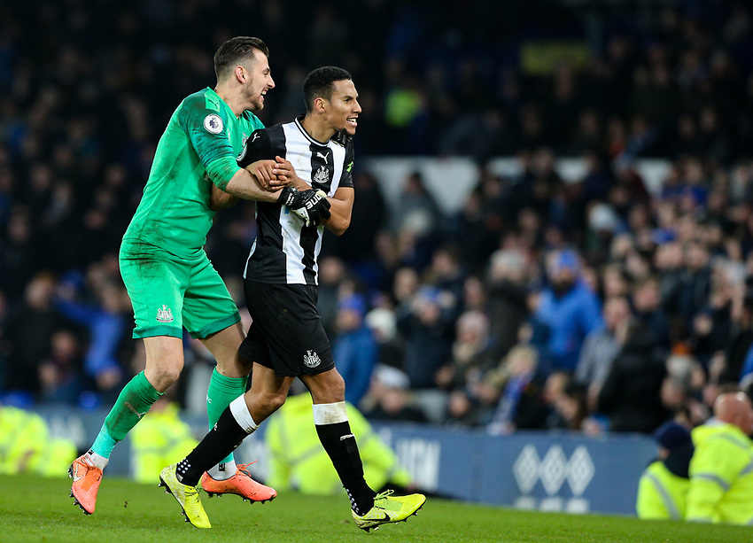 Newcastle United's Martin Dubravka celebrates with Isaac Hayden<br /> <br /> Photographer Alex Dodd/CameraSport<br /> <br /> The Premier League - Everton v Newcastle United  - Tuesday 21st January 2020 - Goodison Park - Liverpool<br /> <br /> World Copyright © 2020 CameraSport. All rights reserved. 43 Linden Ave. Countesthorpe. Leicester. England. LE8 5PG - Tel: +44 (0) 116 277 4147 - admin@camerasport.com - www.camerasport.com