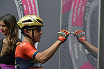 Domenico Pozzovivo (ITA) Bahrain-Merida at sign on before the start of Stage 21 of the 2018 Giro d'Italia, running 115km around the centre of Rome, Italy. 27th May 2018.<br /> Picture: LaPresse/Marco Alpozzi | Cyclefile<br /> <br /> <br /> All photos usage must carry mandatory copyright credit (&copy; Cyclefile | LaPresse/Marco Alpozzi)