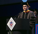 Jesús Pando, department chair and associate professor of physics, serves as one of the university marshals Sunday, June 11, 2017, during the DePaul University College of Science and Health and College of Liberal Arts and Social Sciences commencement ceremony at the Allstate Arena in Rosemont, IL. (DePaul University/Jamie Moncrief)